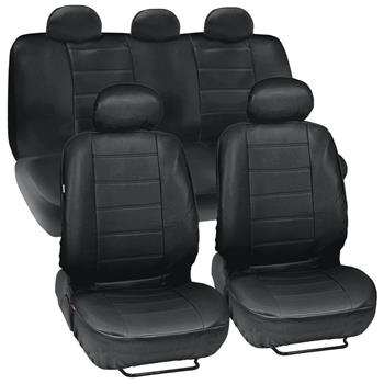 Four Seasons Universal 5-Headrest PU Leather Car Seat Cover 13-Piece Set Black 2-Row Seat