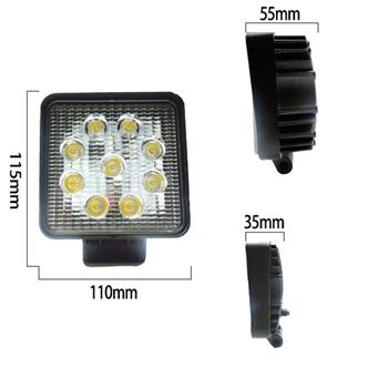 4.6 Inch 27W Square Flood LED Work Light Fog Lamp Offroad Driving SUV UTE Black