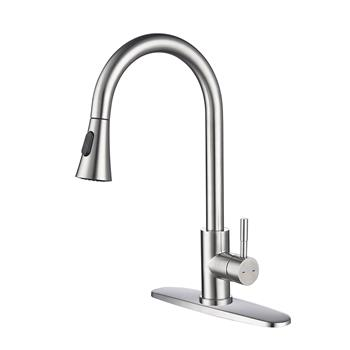 Single Handle High Arc Pull out Kitchen Faucet with Pull down Sprayer Stainless Steel Sink Faucet