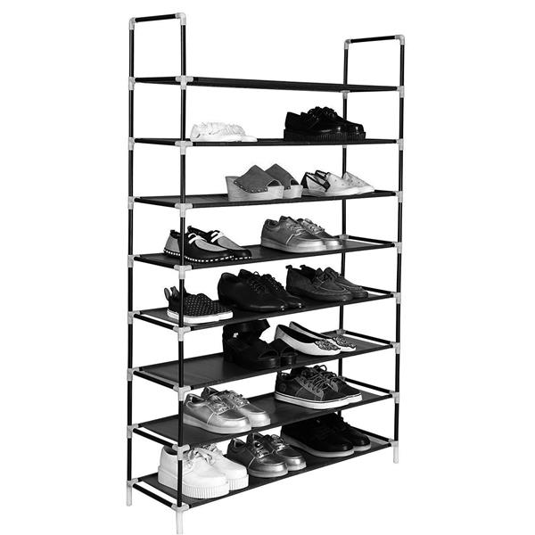 100cm Ultra Large Capacity 8 Layers Non-woven Fabrics & Steel Shoe Rack Black