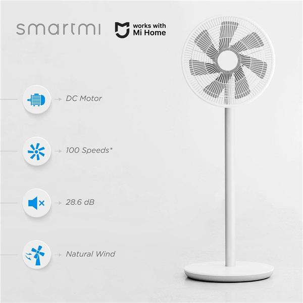 smartmi Standing Pedestal Oscillating Fan 2 Natural Wind, Portable Outdoor Floor Cooling Electric Fans for Bedroom, Indoor Use, DC Motor Adjustable Quiet Fans, 4 Power Setting,Works With Mi Home,White