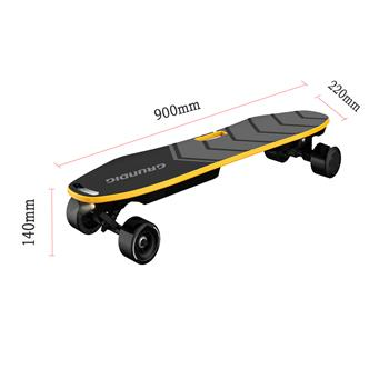 GRUNDIG 35.4 inch electric skateboard, electric board, self balancing skateboard with dual motor, e-skateboard, e-board, 9 layers maple wood deck, 180 W x 2 motor | Range 18 km, max. Speed 25 km / h