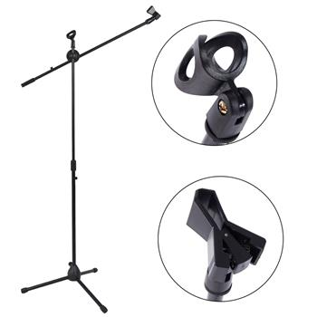 Glarry FS-002 Folding Type Tripod Boom Microphone Mic Stand Black