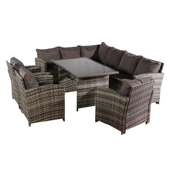 Oshion 9 Seat Rattan Furniture Outdoor Sofa Dining Table with Free Rain Cover 3 Single Chair Sofa Dark Gray Sofa Cover (UK Flame Retardant Material)-Gray Rattan Total 2 Boxes