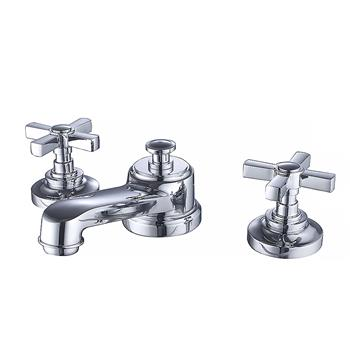 Hot Cold Water Widespread Bathroom Toilet Faucet with Double Handles 3 Holes Brass Water Faucet