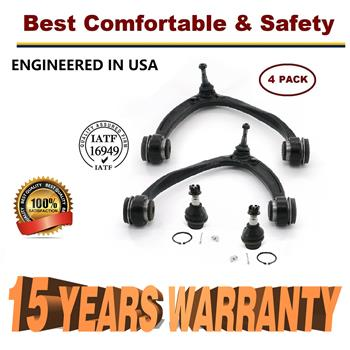 2007-2014 Chevy Silverado 1500 Tahoe Suburban Front Upper Control Arm Lower Ball Joint Kit 4pcs - 15 YR WARRANTY