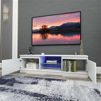 130CM Width White Modern TV Stand High Gloss Door Matt Cabinet Unit LED Light