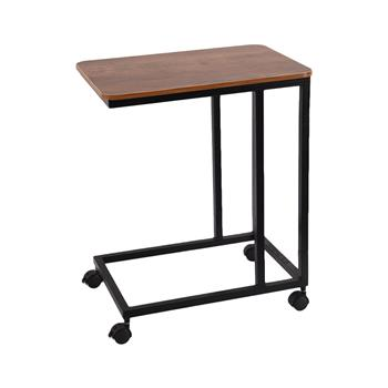 C Table Sofa Side End Tables for Living Room Couch Table Slide Under Mobile Snack Side Table for Coffee Laptop with Wheels Wood Look Over Bed Table Metal Frame