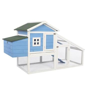 """69"""" Wooden Chicken Hutch Hen Coop Habitat Pigeon House with Egg Case & Tray & Running Cage Blue Part B"""