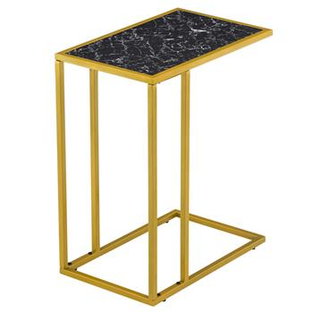 [30 x 48 x 61]cm Marble Simple C-shaped Side Table Black