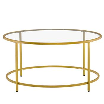 [90 x 90 x 45]cm Simple Single-Layer Round Frame Glass Surface Coffee Table Side Table 90 Round Gold