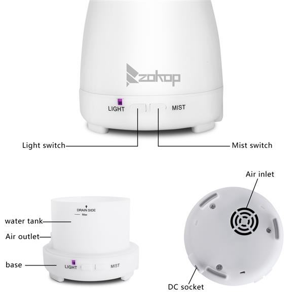 2368YK 220V 200ML RGB Aroma Diffuser with White Controller UK Plug