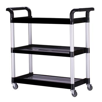 Heavy Duty 3-Shelf Rolling Service / Utility / Push Cart, 390 lbs. Capacity, Black, for Foodservice / Restaurant / Cleaning