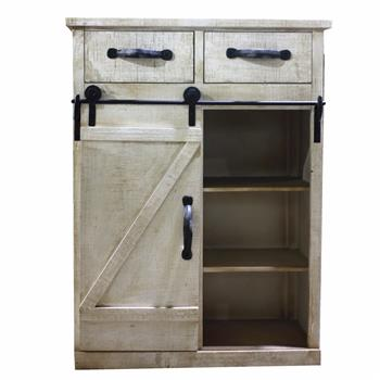 Artisasset Classic Style White Country Style Single Barn Door With 2 Drawers Vintage Wooden Cabinet
