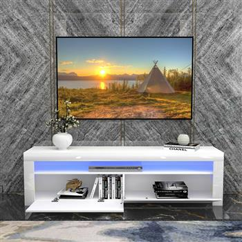 White Modern TV Stand Matt Cabinet Unit 160CM Width High Gloss Door LED Light