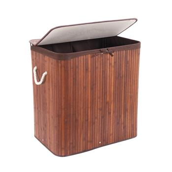 Divided Laundry Hamper, Two-Section Bamboo Laundry Basket Sorter with Removable Liner and Handles