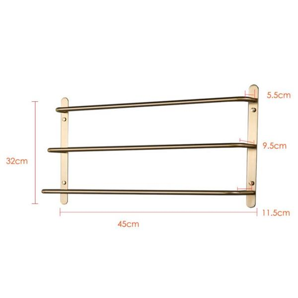 THREE Stagger Layers Towel Rack Luxury Brushed Gold 304 Stainless Steel Towel Bars Bathroom Accessories Set 17.72 inches KJWY003JIN-45CM