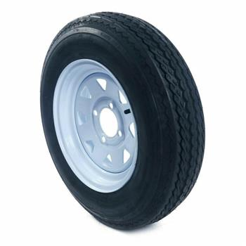 "1 - 5.30-12 LRC TL 1050LBS Bias Trailer Tire on 12"" 5 Lug White STP Wheels"