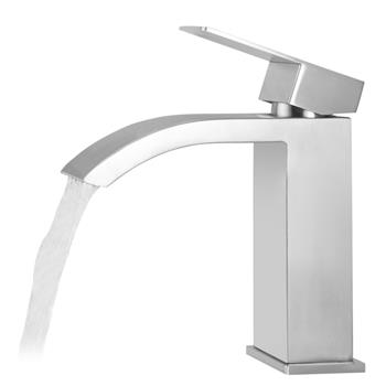 Single Handle Waterfall Bathroom Vanity Brushed Finish Sink Faucet with Extra Large Rectangular Spout