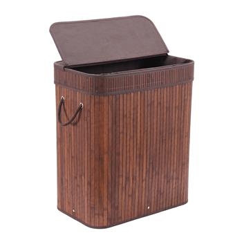 Bamboo Laundry Basket Hamper with Lid Handles and Removable Liner Dirty Clothes Storage Sorter Rectangular