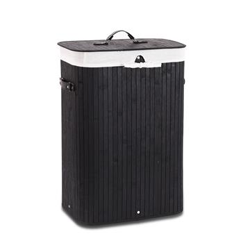 Bamboo Laundry Hamper Portable, Dirty Clothes Storage Basket with Lid and Removable Liner, Large Storage Clothes Bin with Handles, Suitable for Bedroom, Bathroom-black
