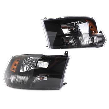 Left Right Headlights 68001485AG 68001484A for 09-17Dodge Ram 1500/2500/3500 BLK