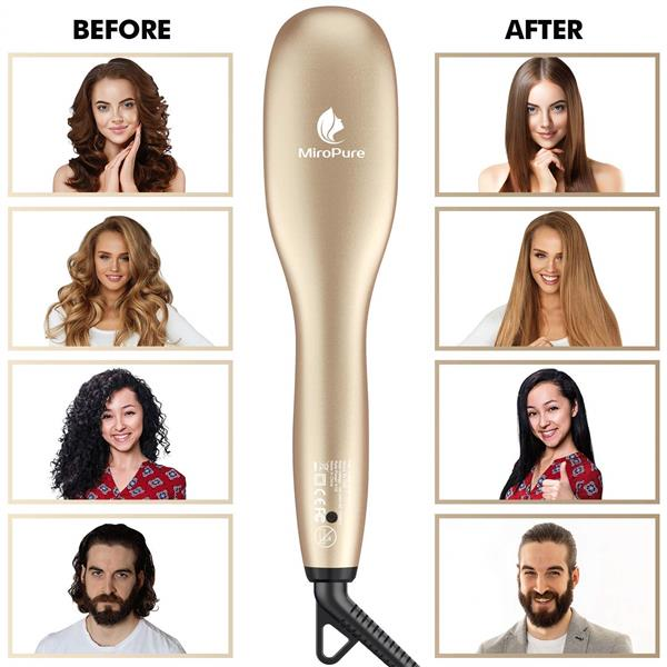 Miropure KL1020 Hair Straightener Brush with Ionic Generator (30s Fast Even Heating for Straightening or Curling) (The product has a risk of infringement on the Amazon platform)