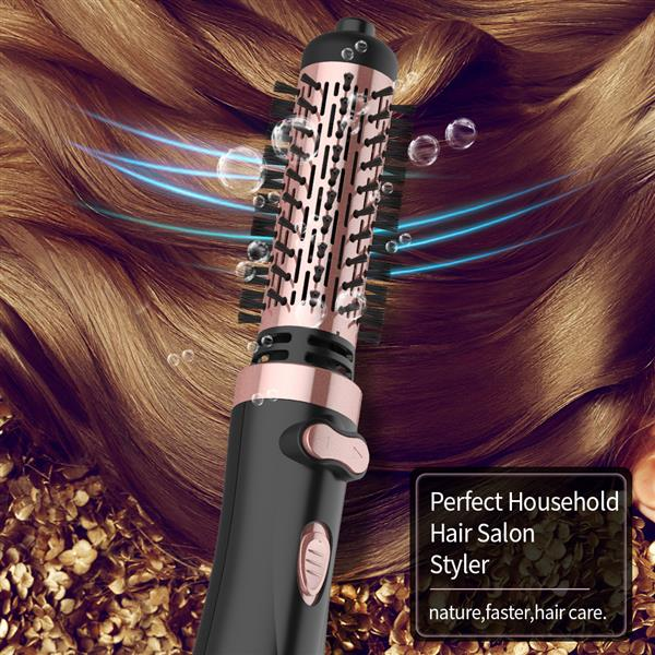 1000W 2-in-1 Hot Air Spin Brush Dryer for Styling, Smoothing and Straightening Auto-rotating Ionic Round Blow Dryer Brush Volumizer in One, Pink Gold