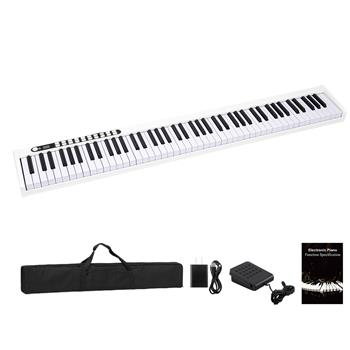 88 Keys Digital Home Piano Built-In Dual Speakers, Built-In Rechargeable Battery , Bluetooth , USB Out Or Midi Out, Piano Bag For Beginners Gift White