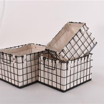 Decorative 3 Piece Canvas Lined Brushed Copper Wire Basket Set for Storage and Organization
