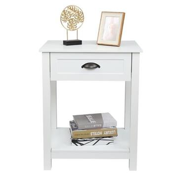 2pcs FCH 1-Drawer Nightstand End Table White
