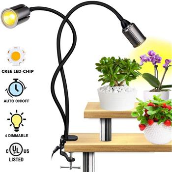 LED Grow Light for Indoor Plants , 75W Sunlike Full Spectrum Indoor Grow Light Plants - 3/6/12H Auto On/Off Timer COB Grow Lamp - 4 Dimmable Indoor Plants Light - 22.5 Inch Longer Gooseneck