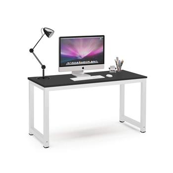 Computer Desk Study Table Gaming Desk Movable Home Furniture Modern  Made of Wooden and Anti Rust Paint Steel Frame for Office Outdoor Gaming Room(Black with White)
