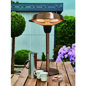 Outdoor Freestanding Electric Patio Heater, Tabletop Heater, Infrared Heater, Hammered Bronze Finished, Portable Heater Suitable as a Balcony Heater, 1566-CT