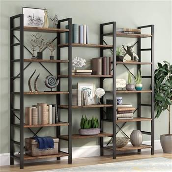 Triple Wide 5-Shelf Bookcase, Etagere Large Open Bookshelf Vintage Industrial Style Shelves Wood and Metal bookcases Furniture for Home & Office (Retro Brown)