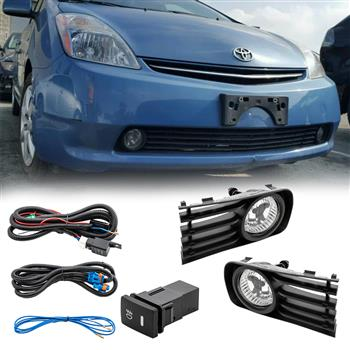 For 2004-2009 Toyota Prius Clear Fog Lights Driving Bumper Lamps COMPLETE KIT