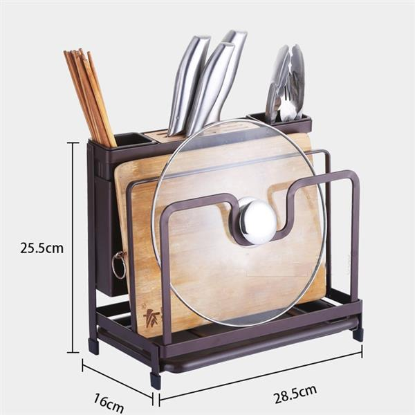 Kitchen Multifunctional Storage Rack with Drip Tray Cutting Board frame Tableware Cutlery Rack Flatware Caddy Pot Cover Lid Frame KJZWJ015HEI