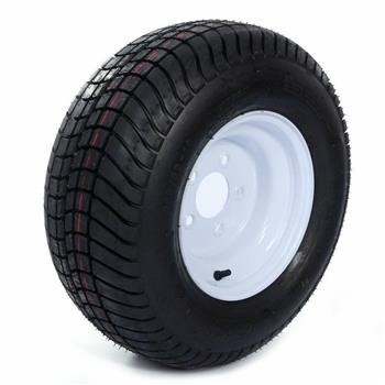 20.5X8X10 205/65-10 psi:50 5Lug White Trailer Tire & Rim Tubeless[Only 1]