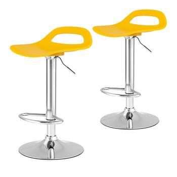 Bar stools Swivel Chair Plastic Colour Selection with Footrest Height Adjustable Kitchen Barstools(2 set Yellow)