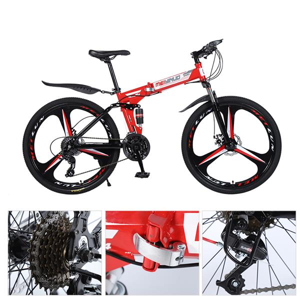 26 Inch 21 Speeds Foldable Mountain Bicycle High Carbon Steel Frame Bike for Adult
