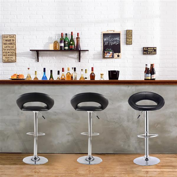 Bar Stools Set of 2 Faux Leatherr Bar Stools White Dinning Chairs,Bar Chairs With 360 Degree Swivel Adjustable Height(Black)