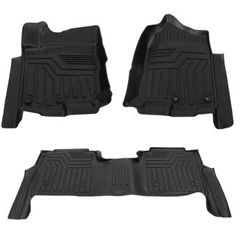 Floor Mats Liner 2 Row Set for Nissan Titan Crew Cab (Black)