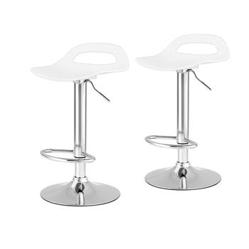 Bar stools Swivel Chair Plastic Colour Selection with Footrest Height Adjustable Kitchen Barstools(2 set White)