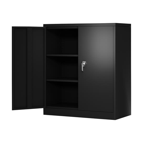 """Steel Storage Cabinet with 2 Adjustable Shelves  Locking Steel Storage Cabinet Metal Garage Storage Cabinet with Door Assembly Required  36""""L x 18""""W x 41.6""""H(Black)"""