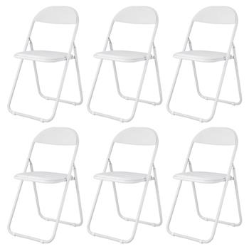 Folding Chair Metal Desk Chairs Heavy Duty Padded Folding Metal Desk Office Chair Seat Easy Store in Office(6 sets White)