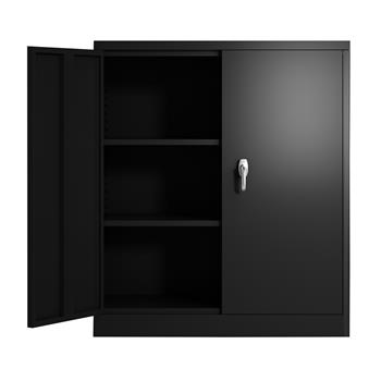 "Steel Storage Cabinet with 2 Adjustable Shelves  Locking Steel Storage Cabinet Metal Garage Storage Cabinet with Door Assembly Required  36""L x 18""W x 41.6""H(Black)"