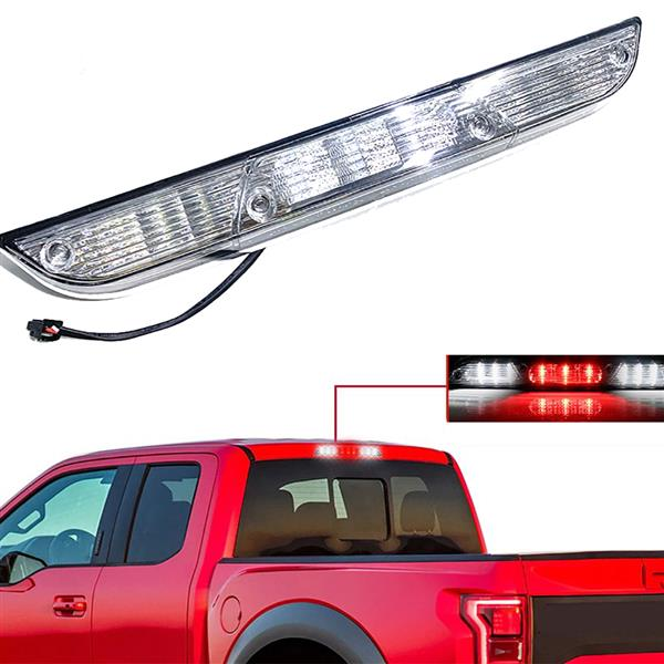 LED High Mount Third 3rd Brake Light and Cargo Light  for 2015-2017 Ford F150 (Clear Lens)