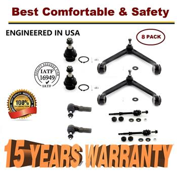 8pc Front Upper Control Arm with Ball Joint for 2002-2005 Dodge Ram 1500 2WD - 15 YR WARRANTY