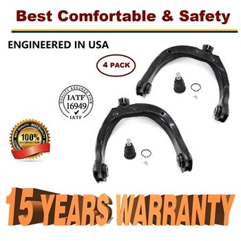 4pc Front Upper Control Arms & Ball Joint for 02-09 Chevy Trailblazer GMC Envoy - 15 YR WARRANTY