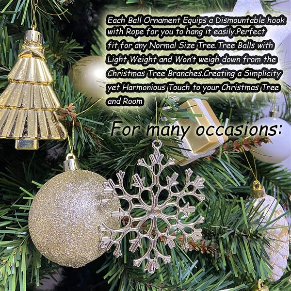 88 Piece Assorted Christmas Tree Ornaments Set, Shatterproof Balls Xmas Seasonal Decorative Hanging Baubles Set with Reusable Hand-held Gift Package for Holiday Xmas Tree Decorations(Golden White)